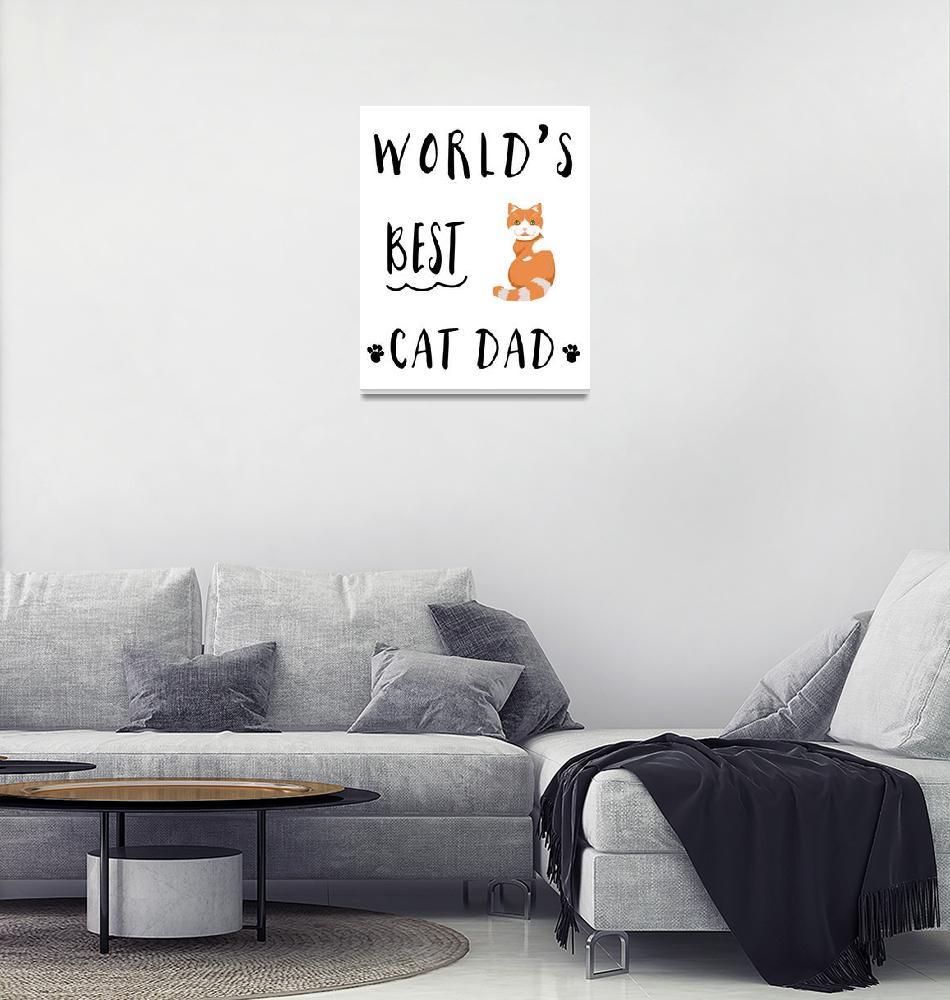 """Worlds Best Cat Dad Orange & White Tabby"" by miscstudios"