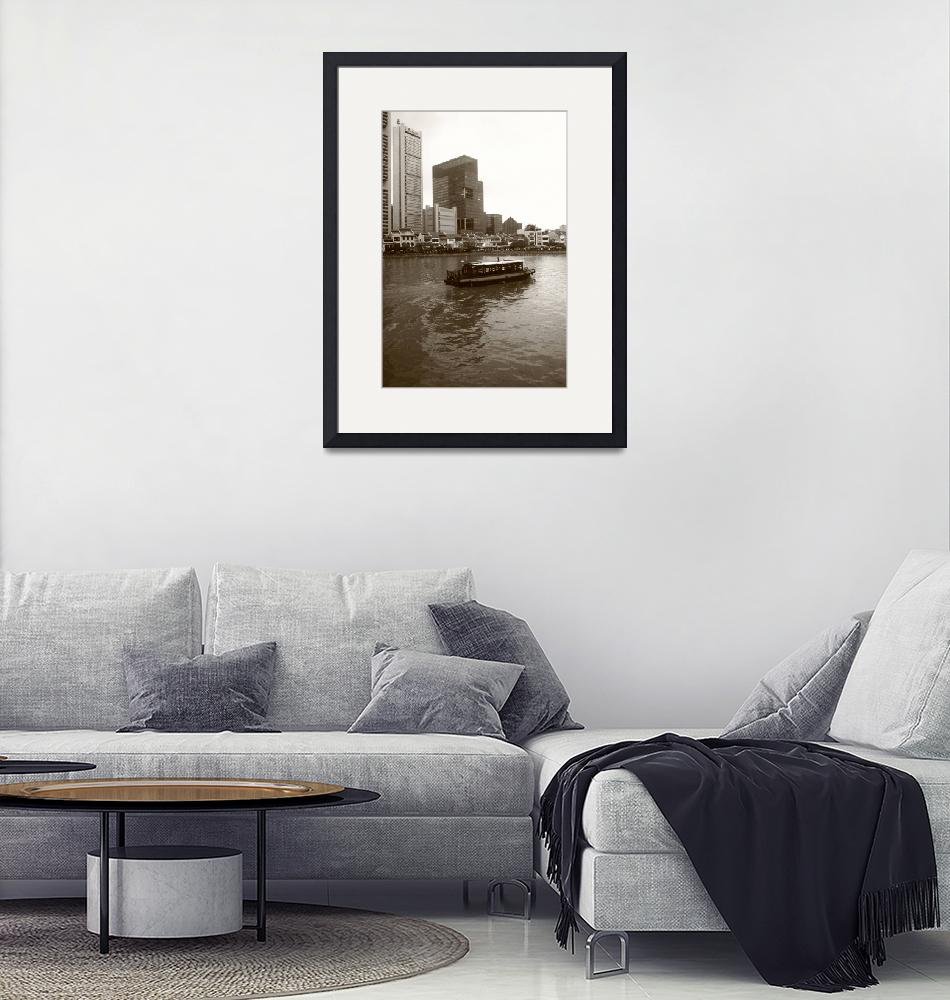 """""""City Singapore in monochrome - Singapore River""""  by sghomedeco"""