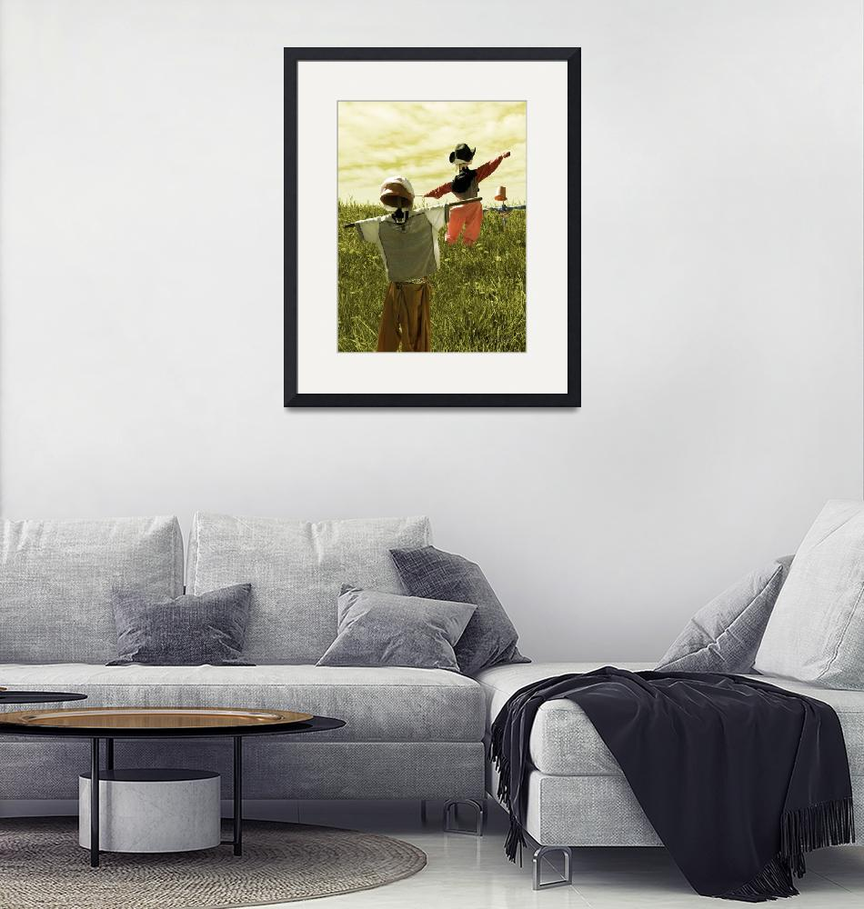 """""""Dancing Scarecrows - Happy scarecrows on a hill""""  (2009) by vision"""