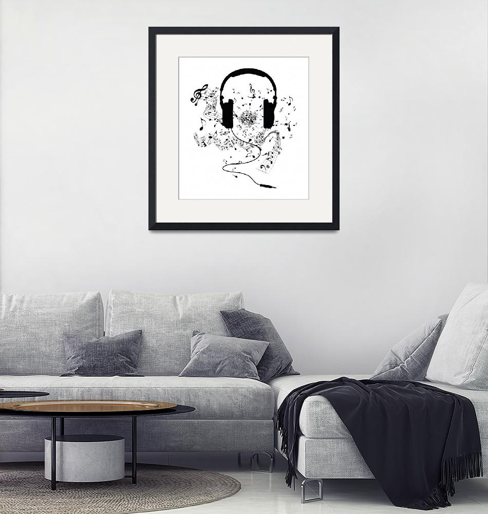 """""""Headphones and Music Notes""""  (2015) by juyodesign"""