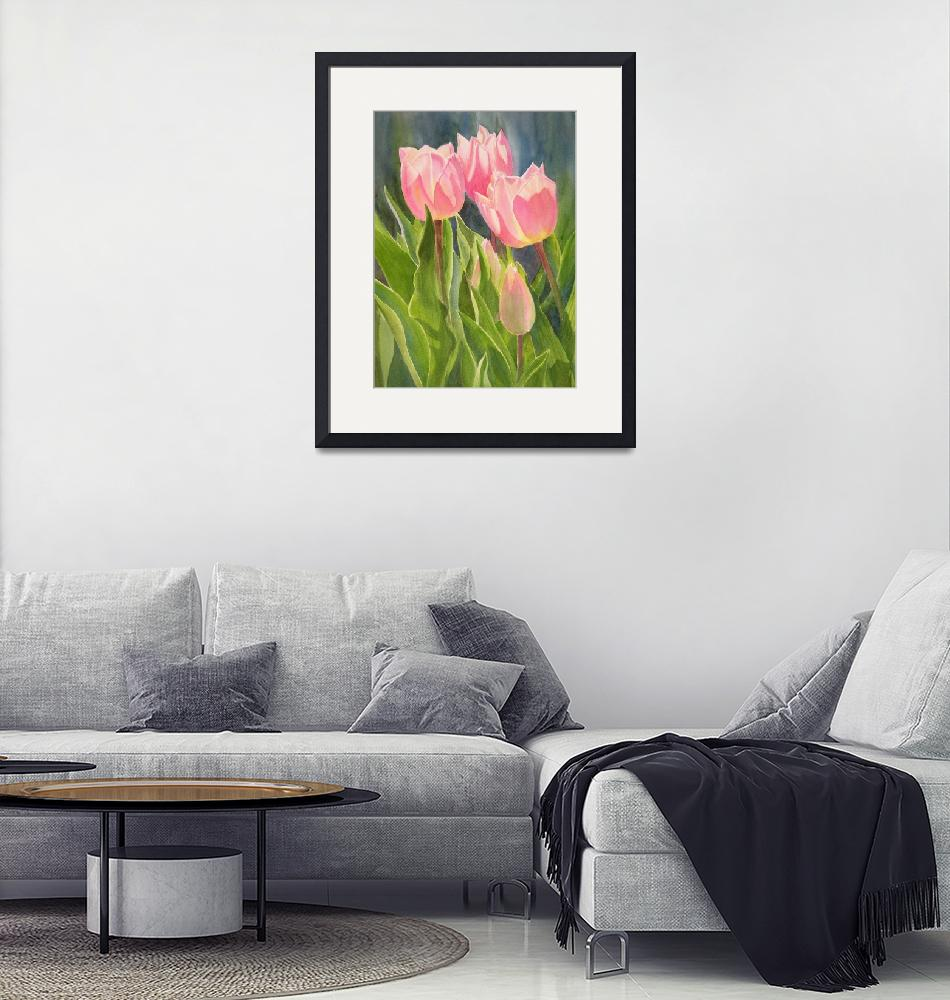 """Peach Colored Tulips 1"" (2011) by Pacific-NW-Watercolors"
