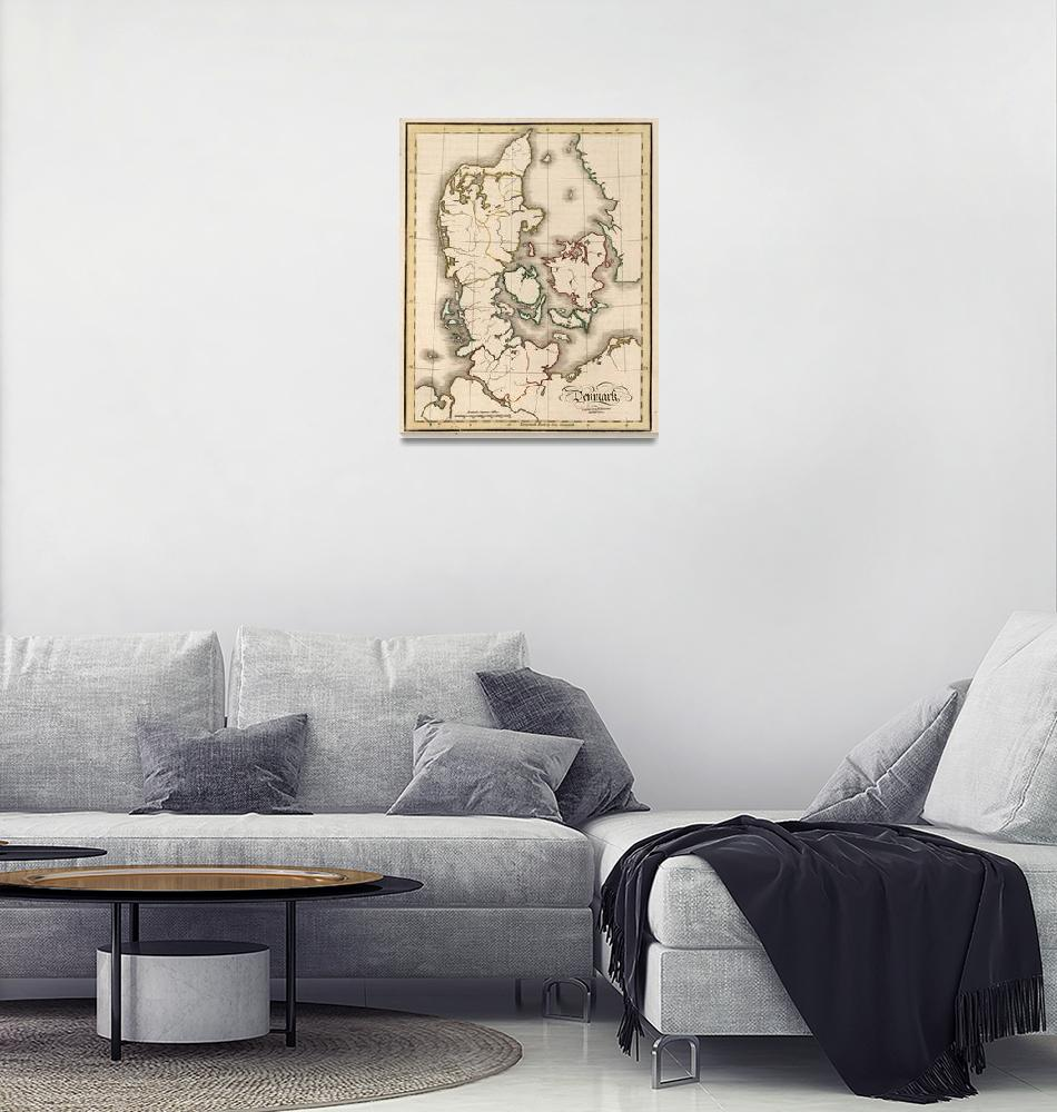 """""""Vintage Map of Denmark (1815)""""  by Alleycatshirts"""