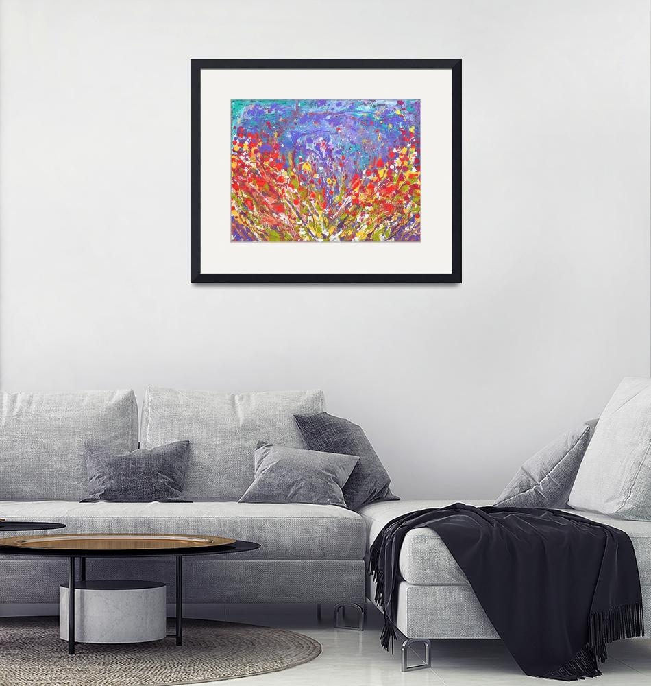 """""""Poppies Abstract Meadow colorful painting on canva""""  (2017) by mkanvinde"""