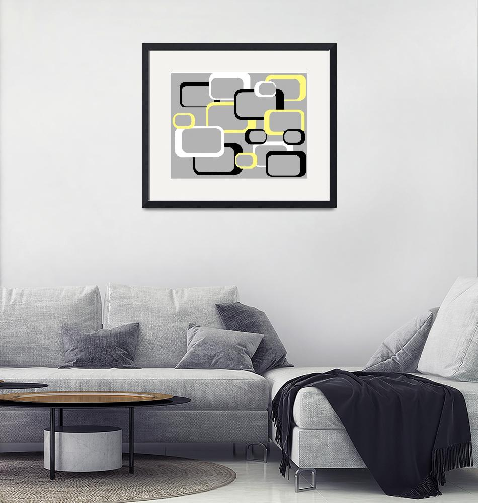 """""""Yellow Retro Squares on a Gray Background""""  (2011) by ValeriesGallery"""