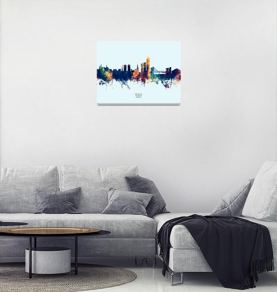 """Oslo Norway Skyline""  (2019) by ModernArtPrints"