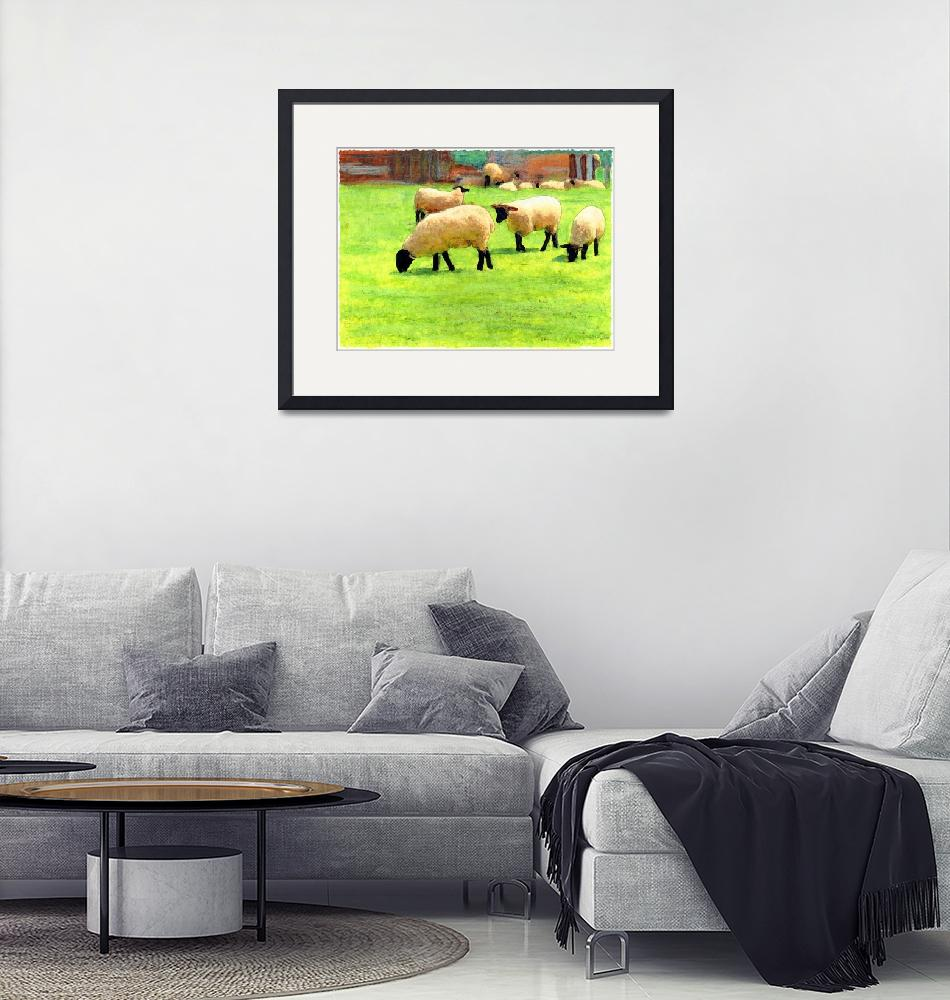 """""""White sheep on a farm in England""""  (2006) by Linandara"""