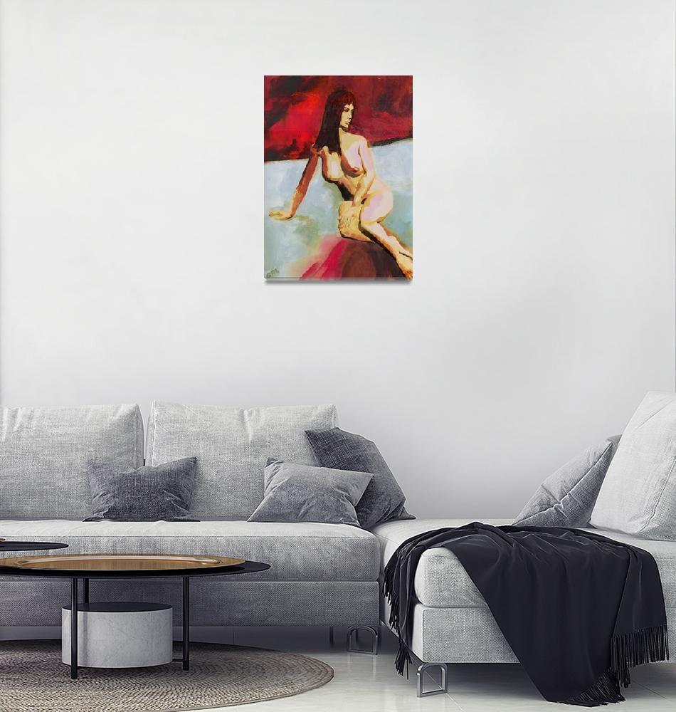 """Fine Art Female Nude Seated Multimedia Acrylic Oil""  by grl"