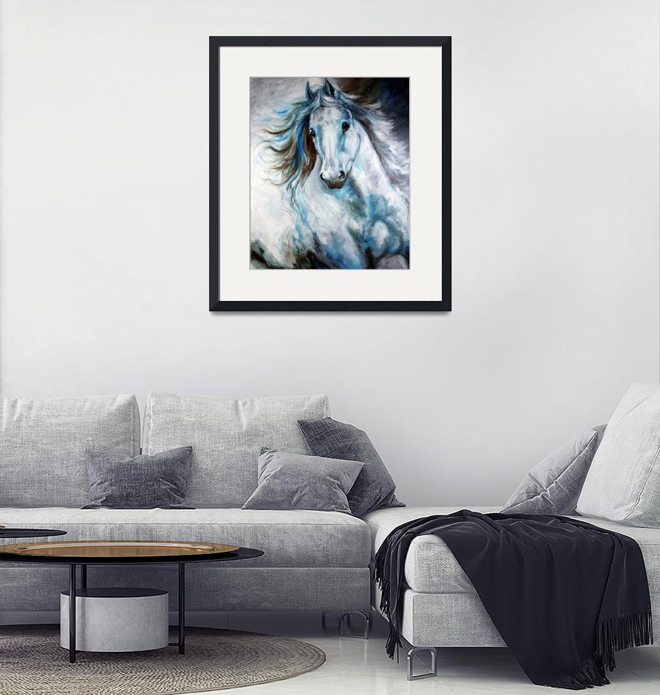 """WHITE THUNDER ARABIAN EQUINE ABSTRACT"" (2010) by MBaldwinFineArt2006"
