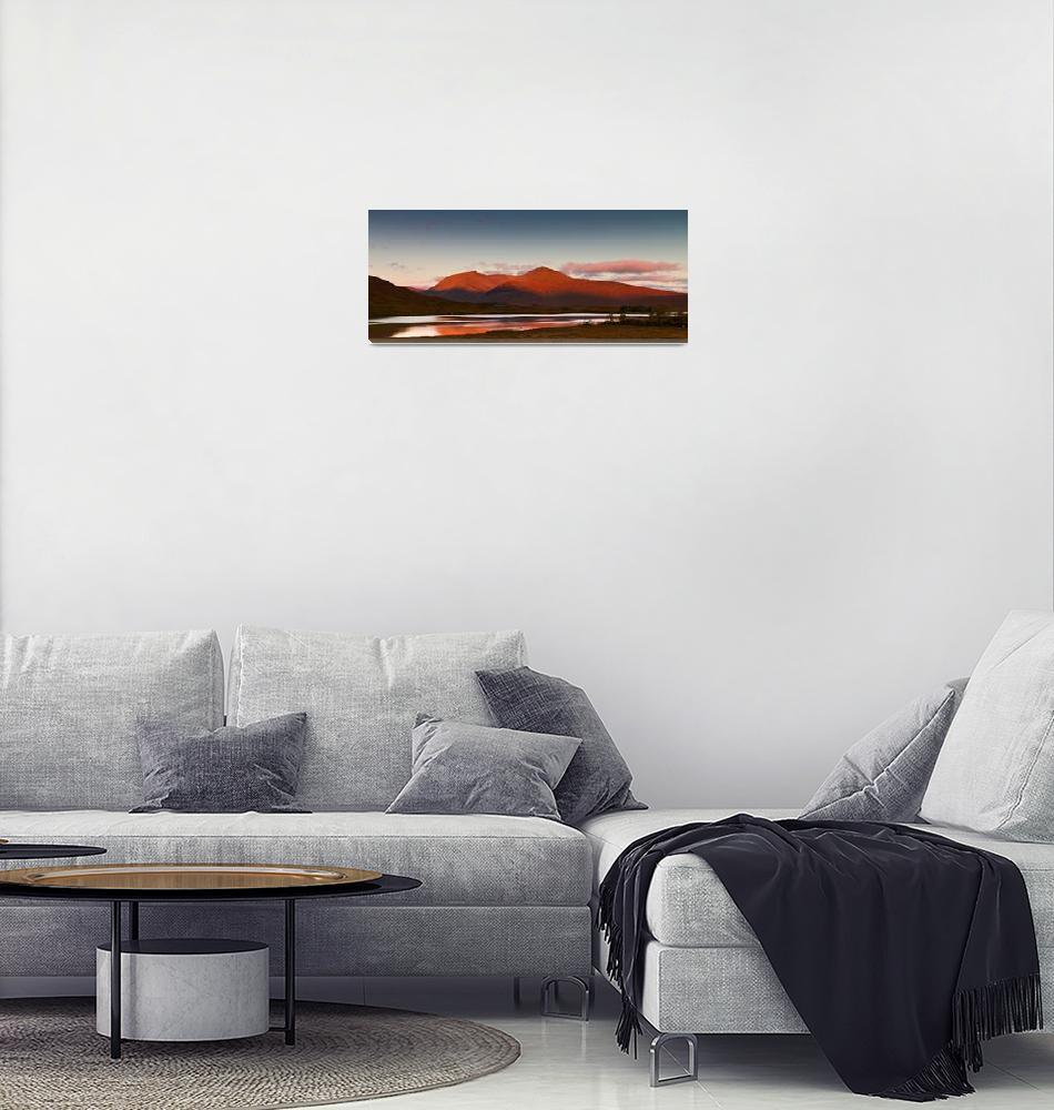 """Sunrise at Lochan na h-Achlaise, Scotland""  (2012) by kingafoto"