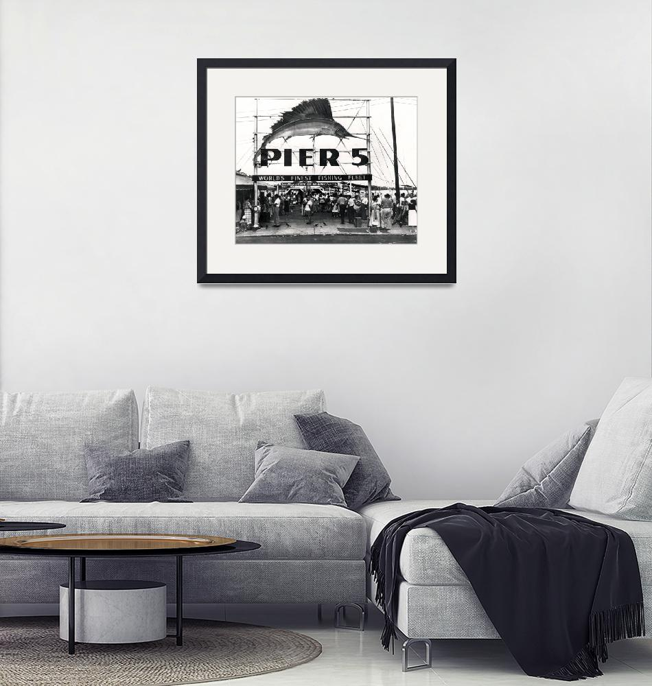"""Pier 5, Miami, c.1950 (b/w photo)""  (1950) by fineartmasters"