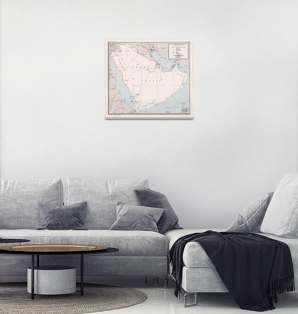 """Map of the Arabian Peninsula (1964)""  (1964) by ArtHistory"