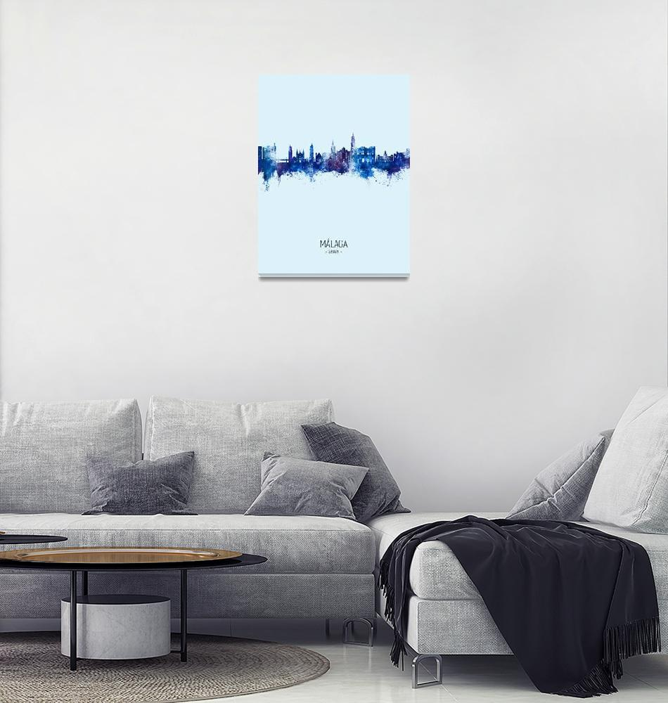 """Málaga Spain Skyline""  (2020) by ModernArtPrints"
