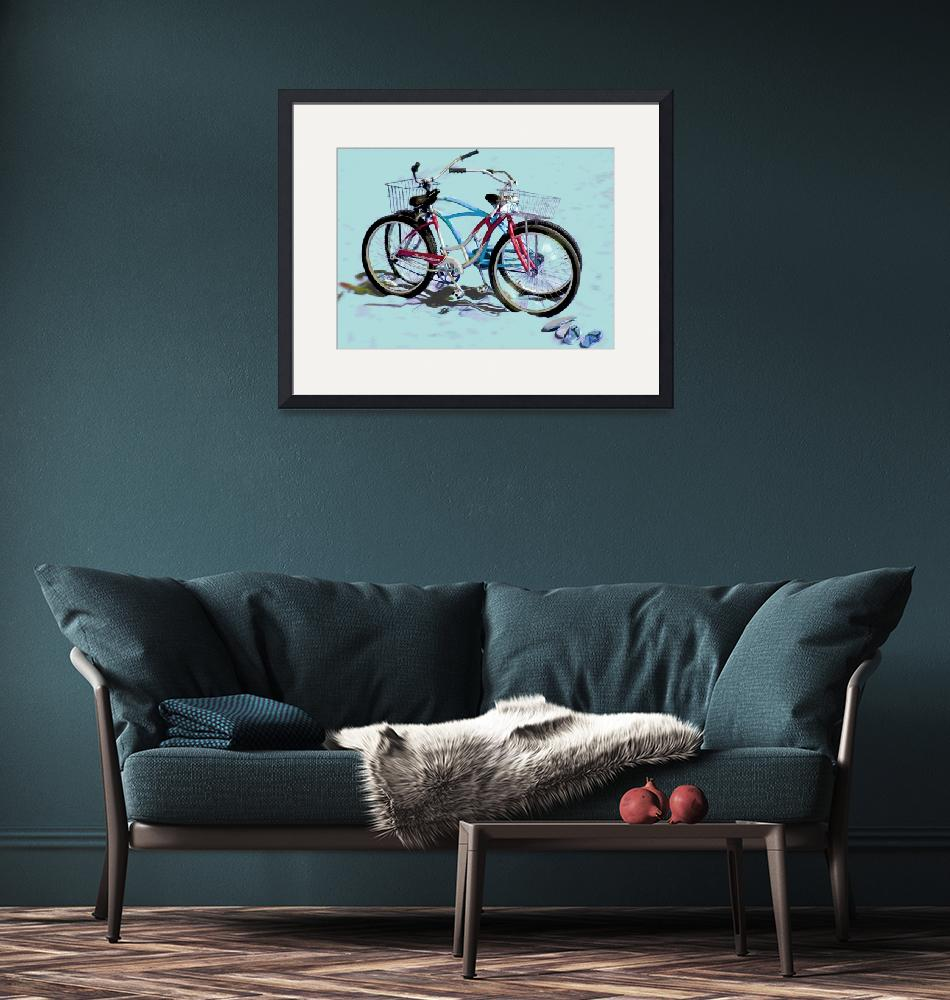 """Bikes on the Beach blue sand""  (2008) by LeslieTillmann"
