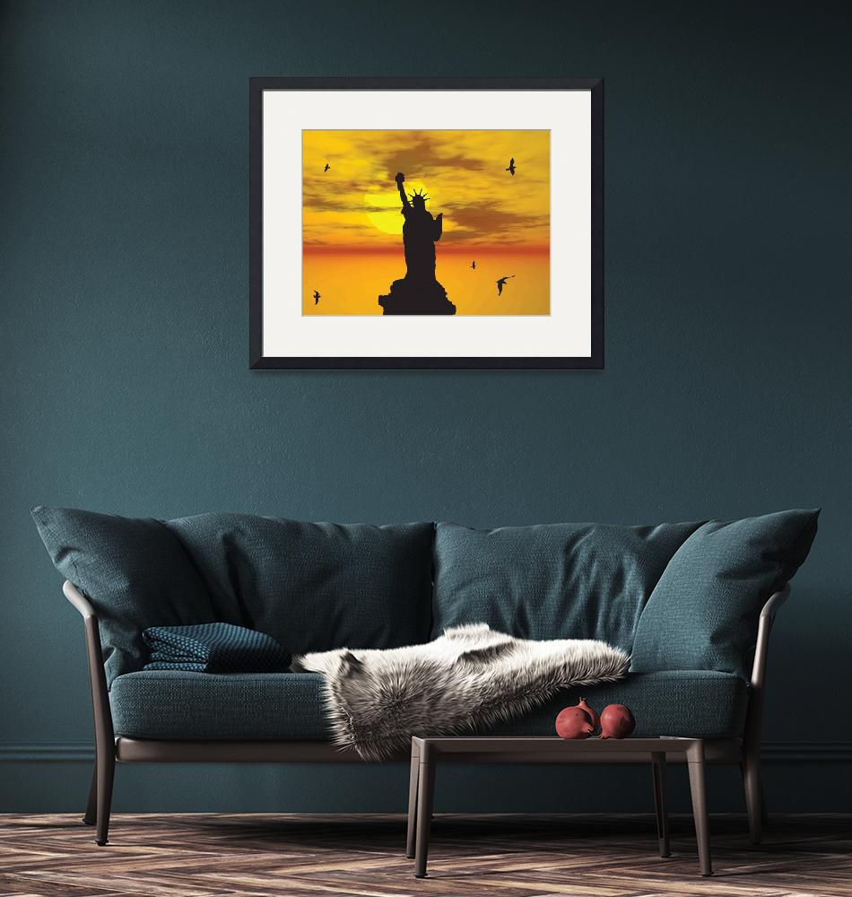 """""""Statue of Liberty Silhouette against the Sunset Il""""  (2013) by New-Yorkled"""