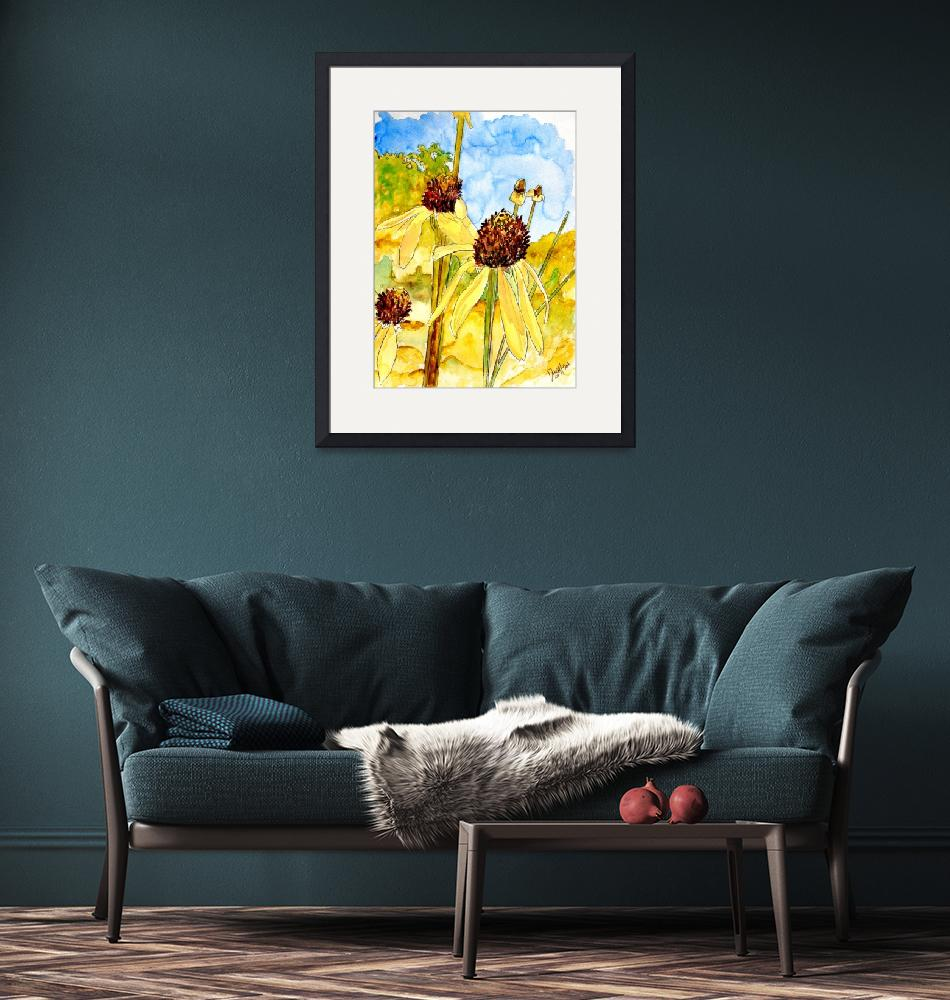 """yellow coneflower watercolor painting print""  (2008) by derekmccrea"