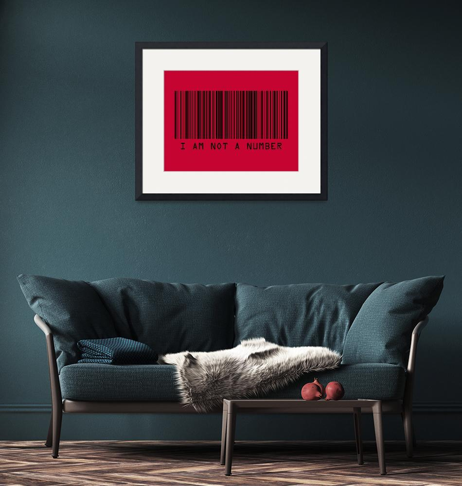 """""""Barcode I Am Not A Number in Red""""  (2009) by ModernArtPrints"""