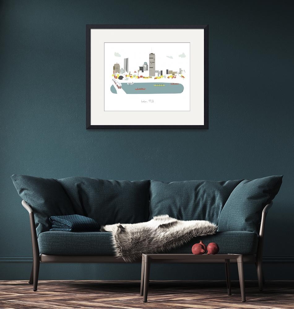 """Boston Modern Cityscape Illustration"" by AlbieDesigns"