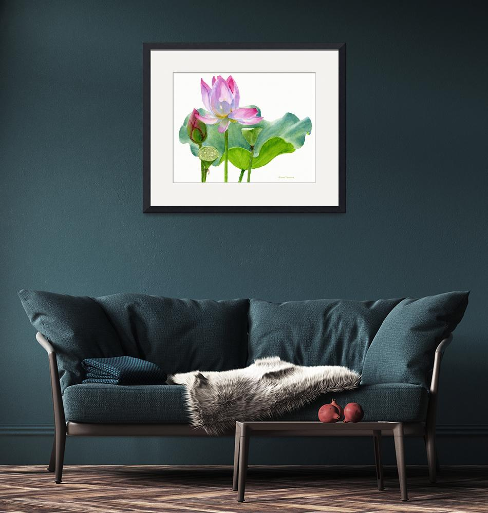 """Lotus Blossom with Lily Pad and Bud""  (2014) by Pacific-NW-Watercolors"