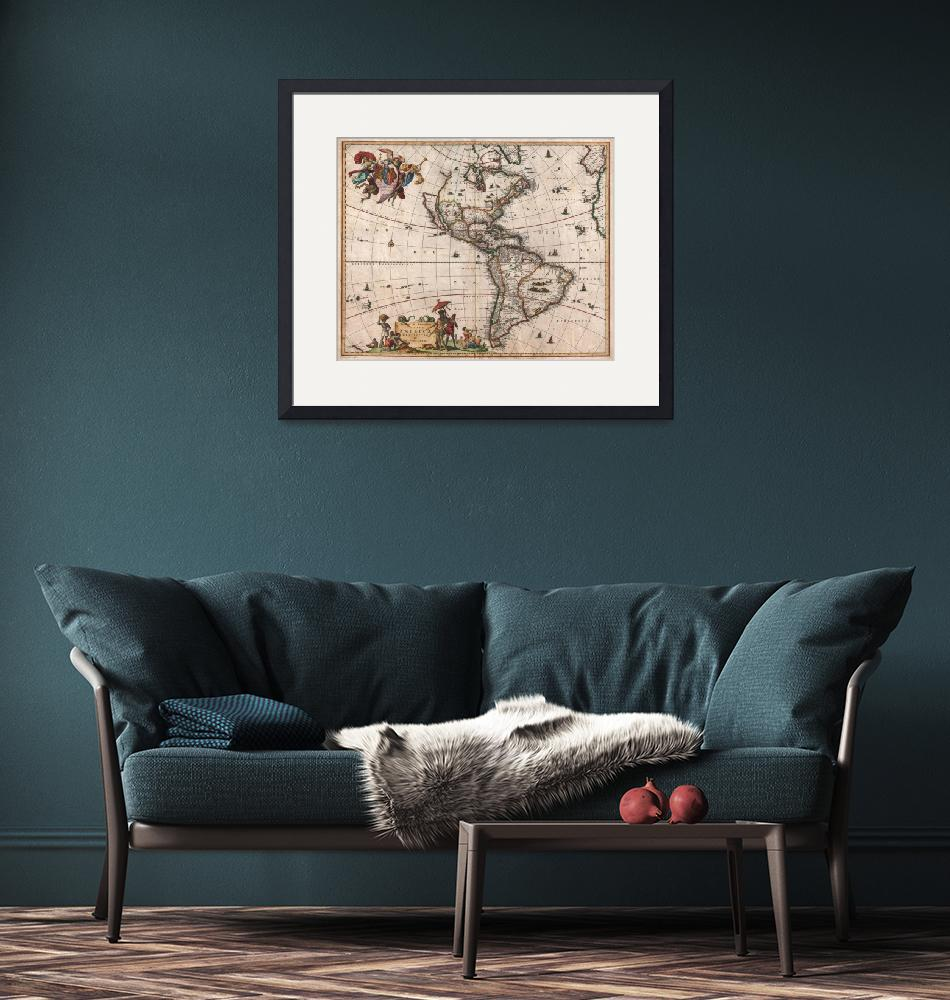 """""""Map of North America & South America 1658 Visscher""""  by FineArtClassics"""