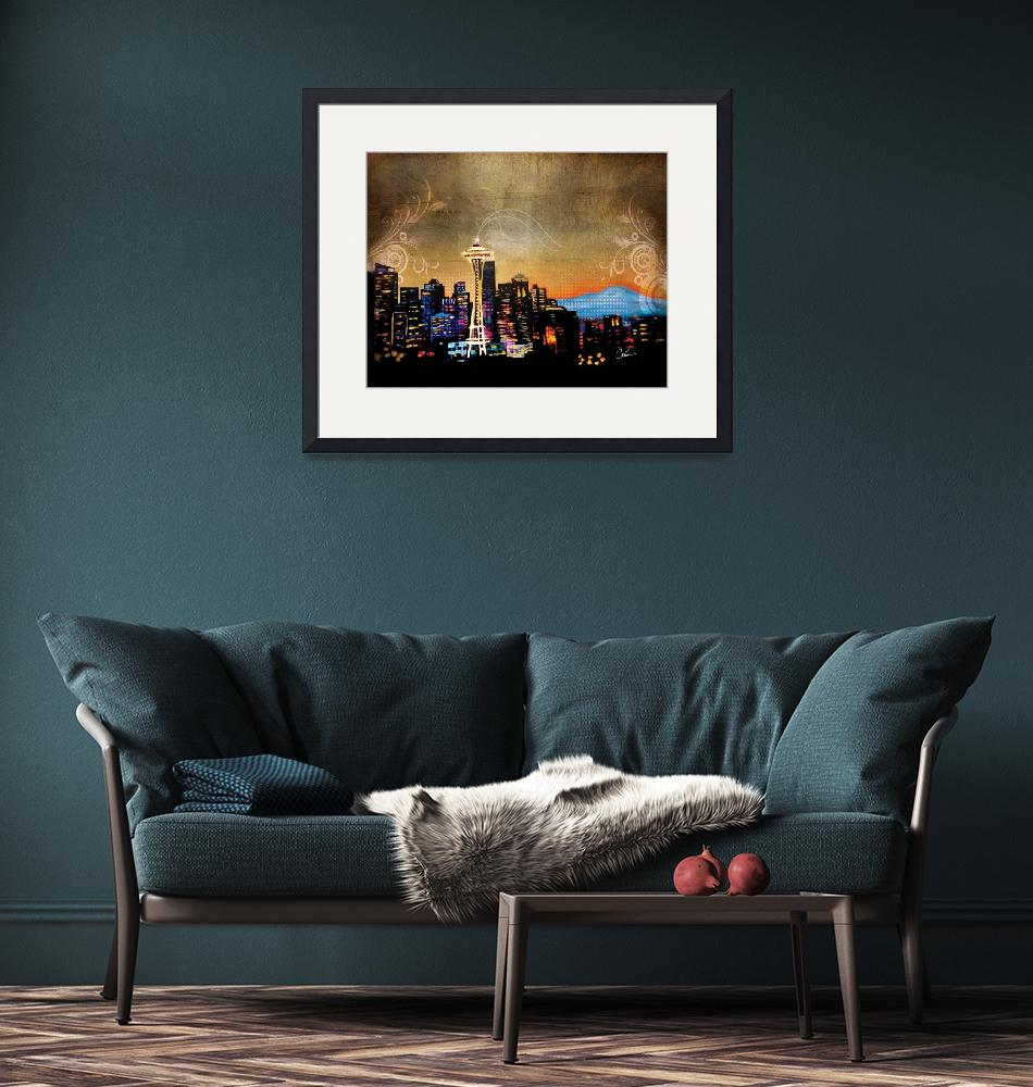 """Seattle Skyline""  (2013) by Corinagallery"