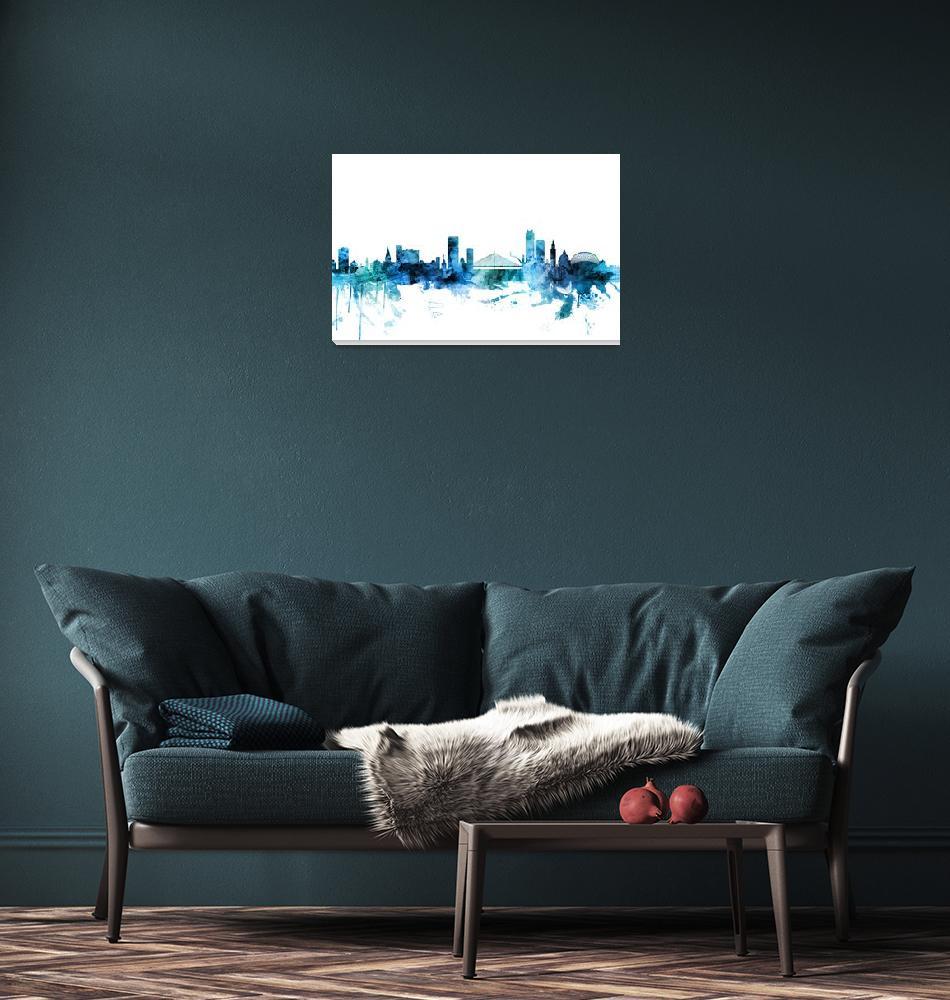 """""""Liege Belgium Skyline""""  (2018) by ModernArtPrints"""