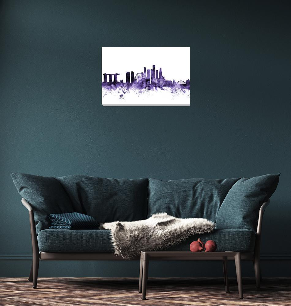 """Singapore Skyline""  (2018) by ModernArtPrints"