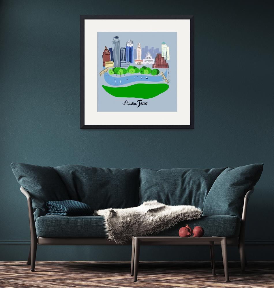 """Austin Texas Skyline""  (2019) by AppleofMyEyeArt"