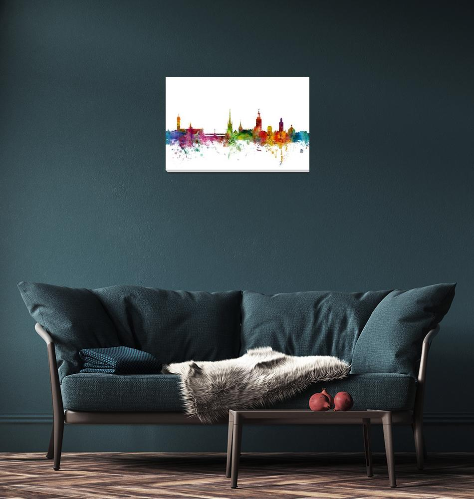 """Stockholm Sweden Skyline""  (2014) by ModernArtPrints"