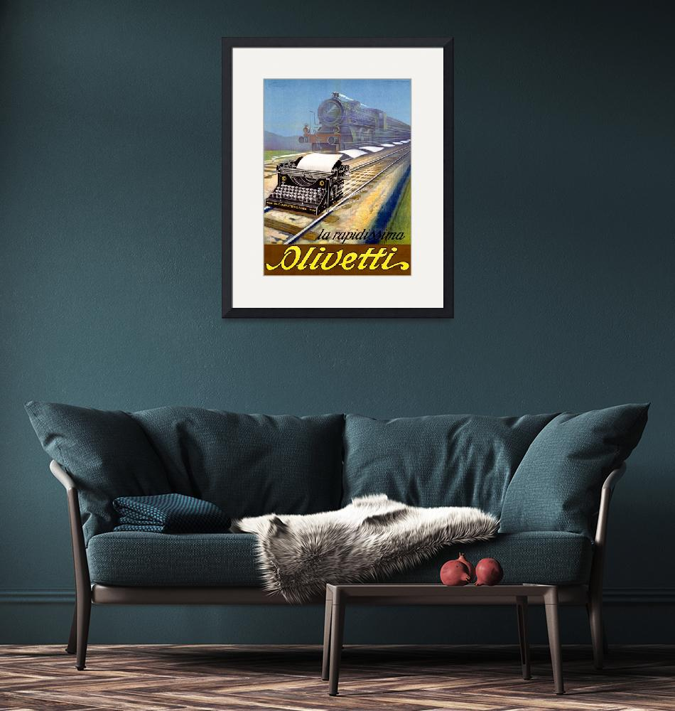 """""""Adriano Olivetti Typewriter Vintage Poster""""  by FineArtClassics"""