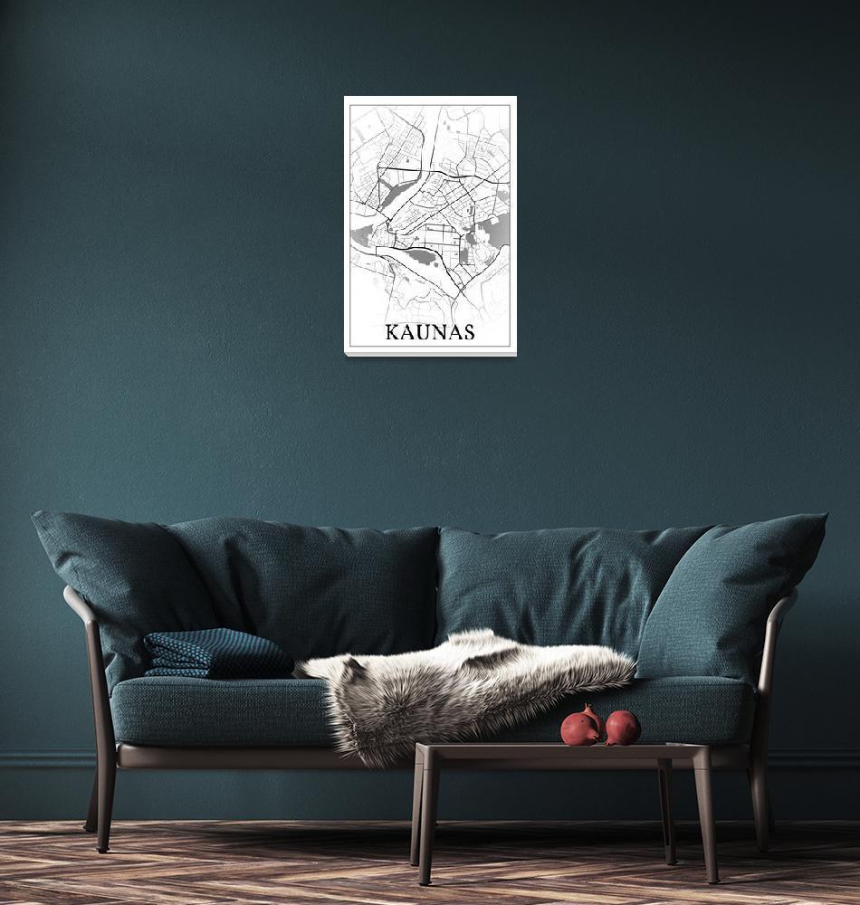"""Kaunas, Lithuania, city map print.""  by dandistudio"