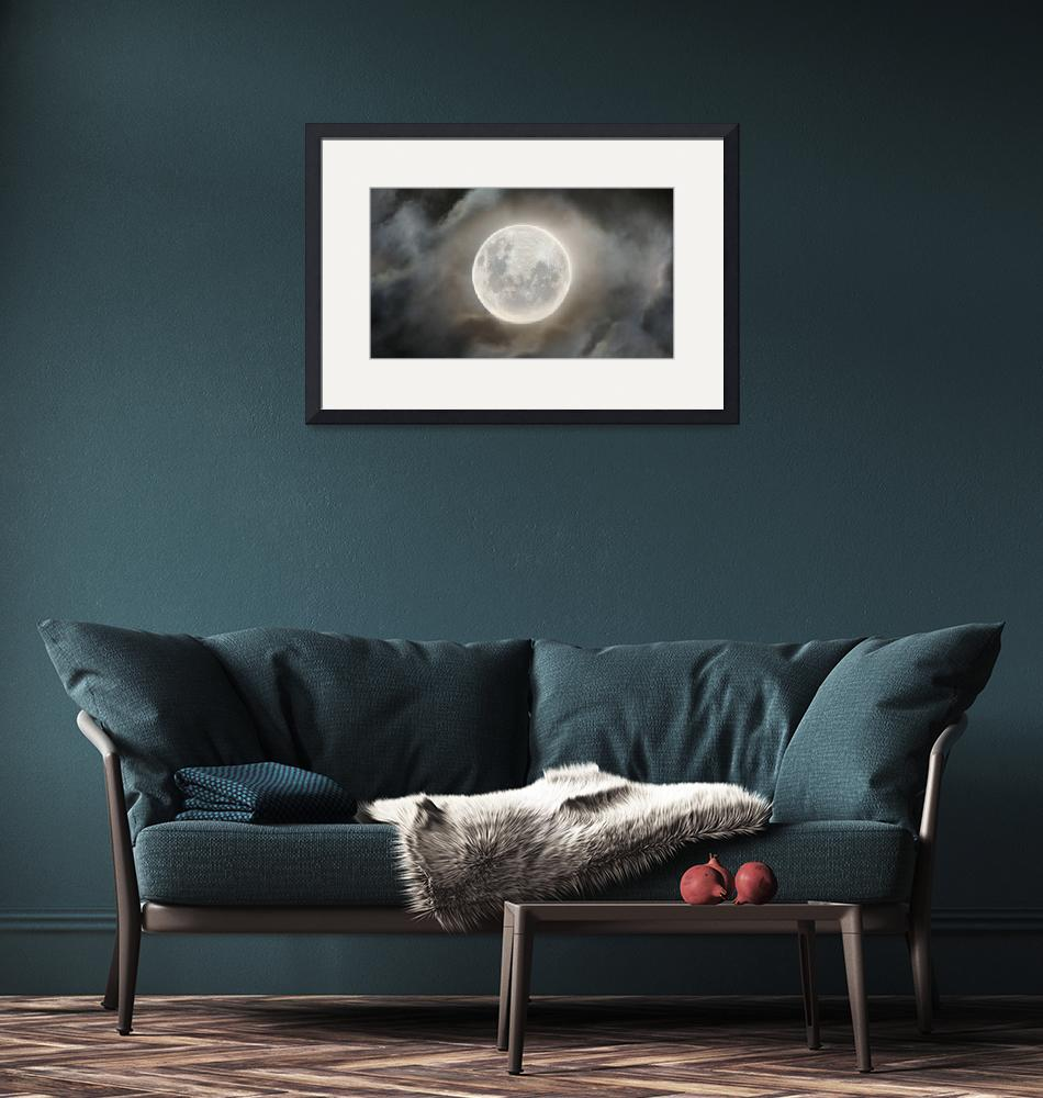 """""""Super Worm Moon Through Clouds""""  by cosmic_background"""