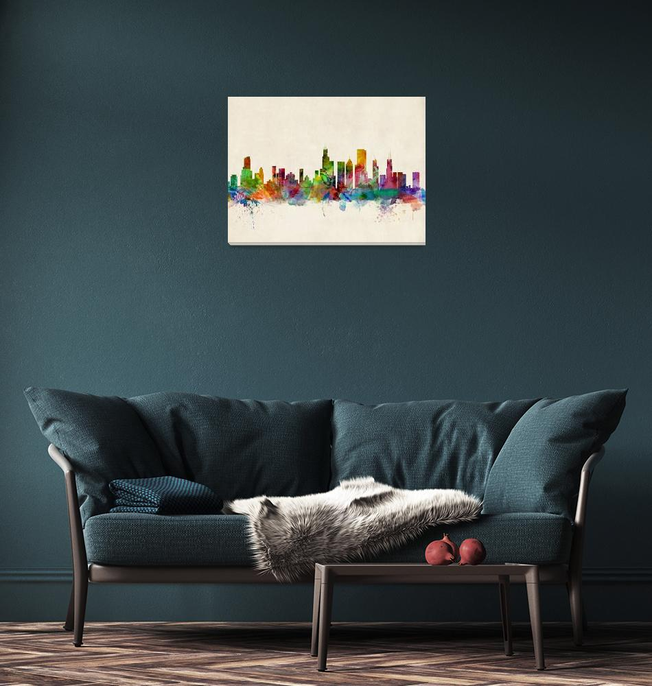 """Chicago City Skyline""  (2013) by ModernArtPrints"