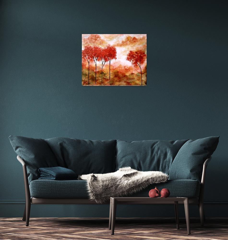 """Burning Promise Skinny Red Autumn Trees Landscape""  (2008) by Itaya"