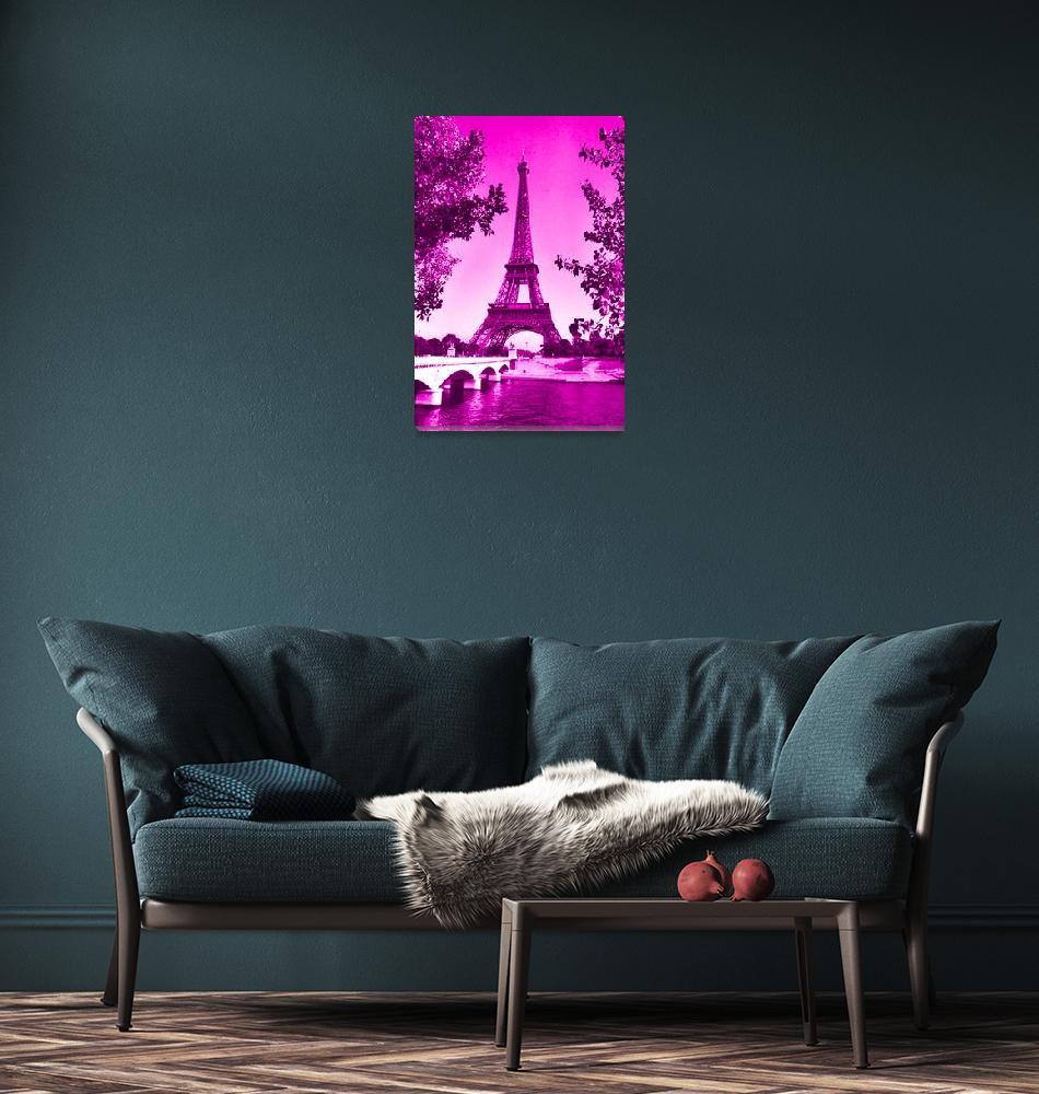 """""""Eiffel Tower Seine River Pink""""  (2013) by TheNorthernTerritory"""