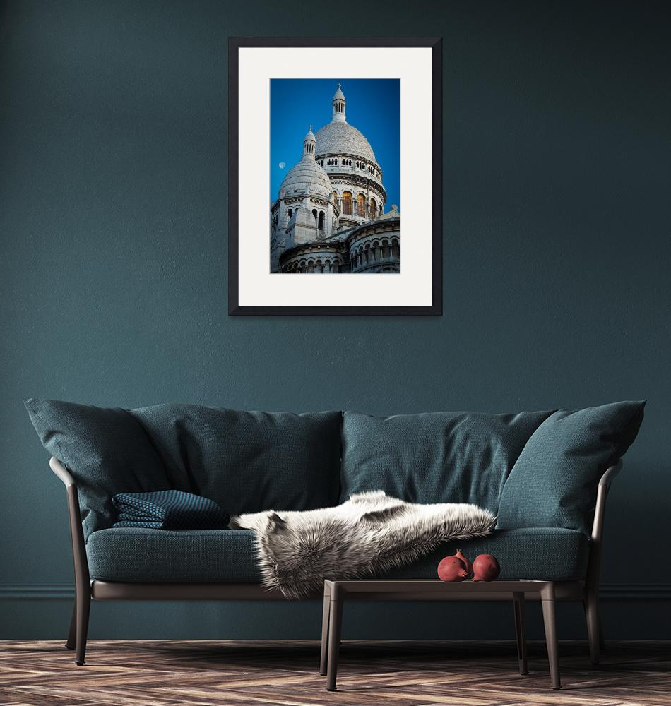 """Sacre-Coeur and Moon""  (2012) by Inge-Johnsson"