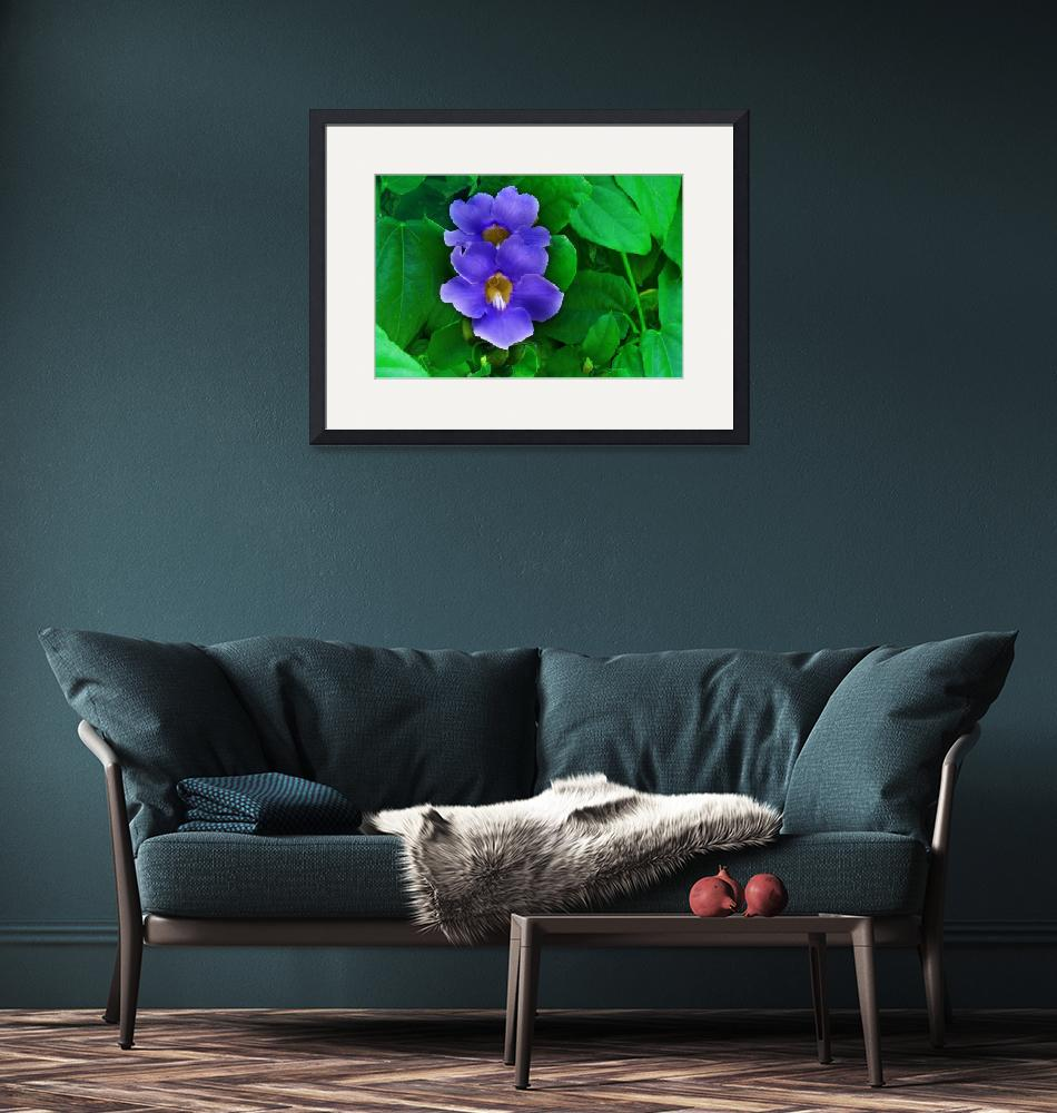"""""""Blue Flowers on Green Leaf Background""""  (2012) by charker"""