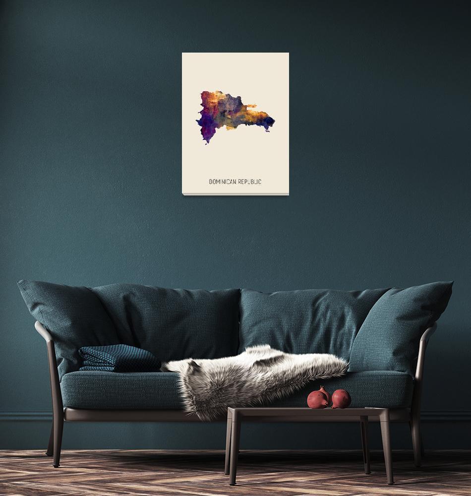 """Dominican Republic Watercolor Map""  (2019) by ModernArtPrints"