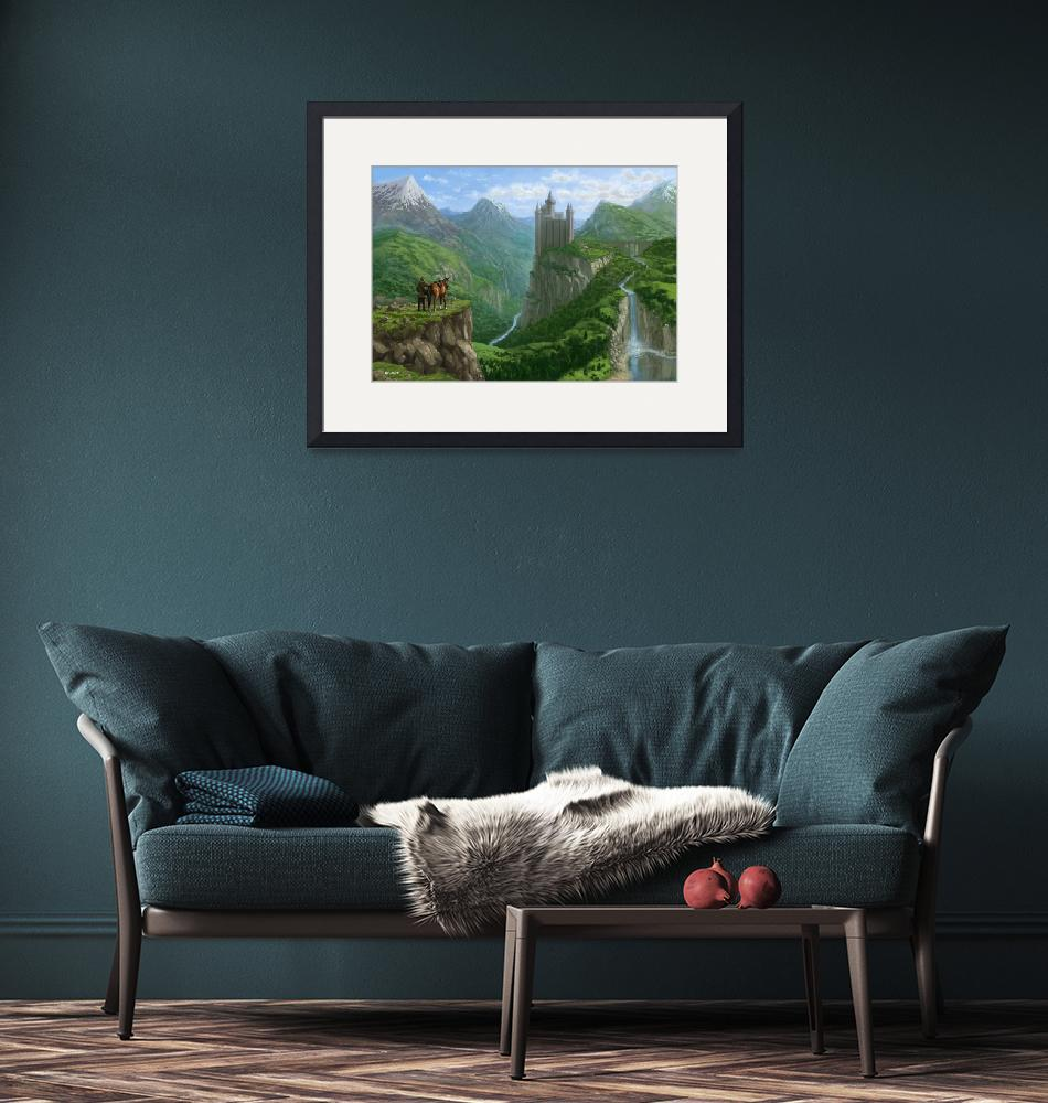 """""""Traveller in landscape with distant Castle""""  (2014) by martindavey"""