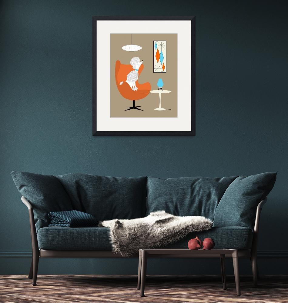 """""""White Poodle in Orange Egg Chair""""  (2019) by DMibus"""