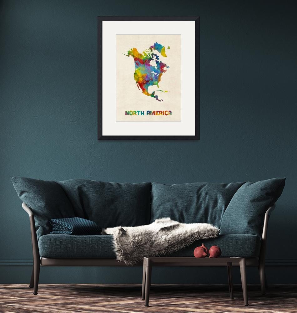"""""""North America Continent Watercolor Map""""  (2018) by ModernArtPrints"""