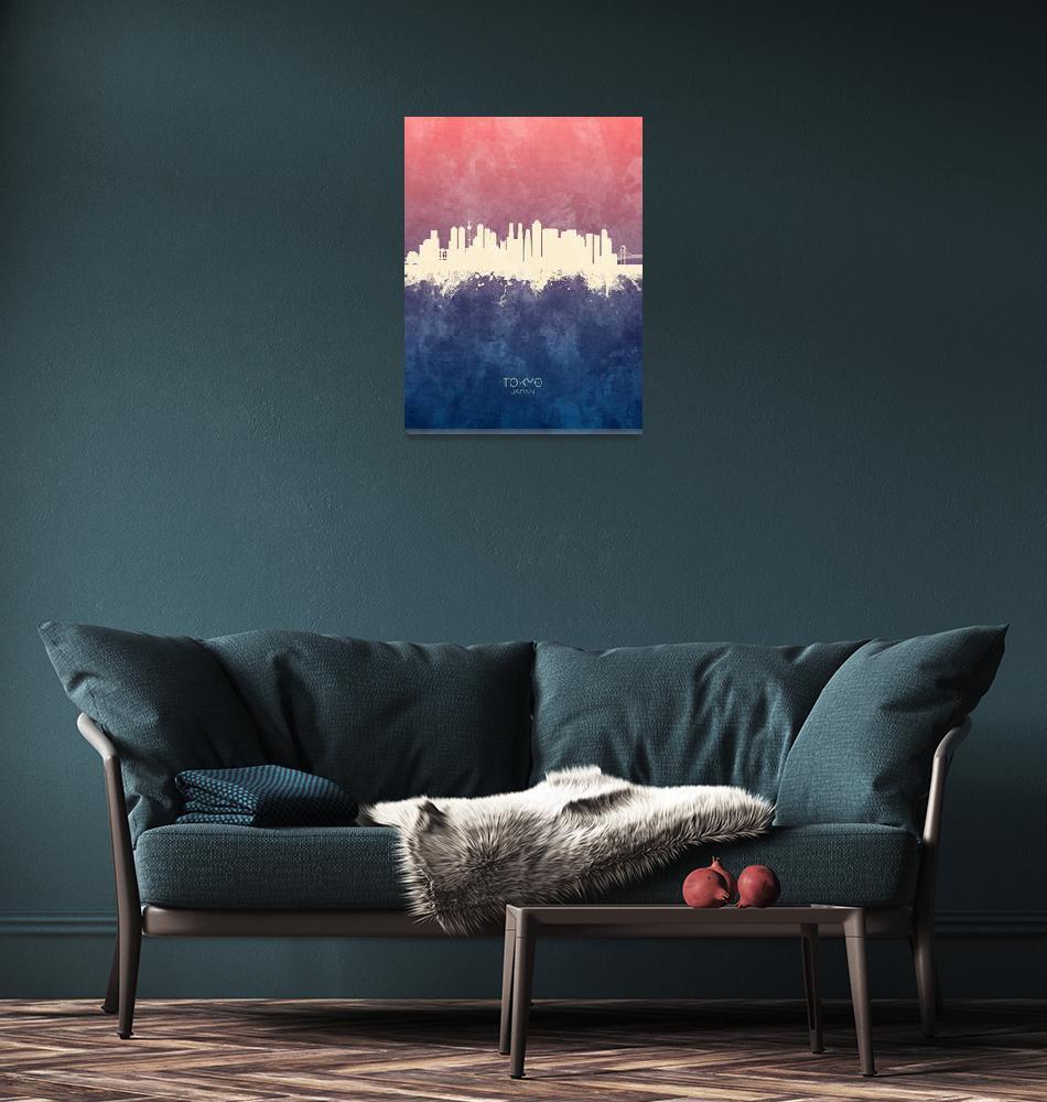 """Tokyo Japan Skyline""  (2019) by ModernArtPrints"
