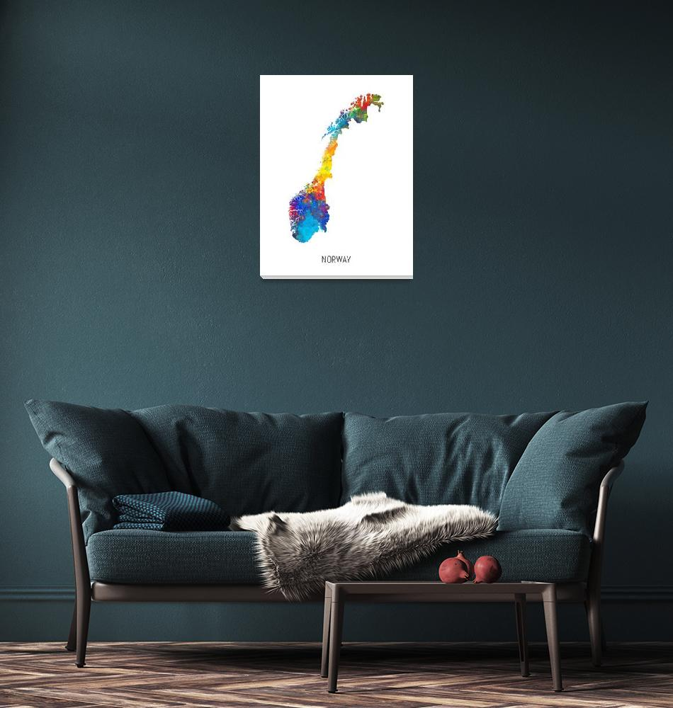 """Norway Watercolor Map""  (2019) by ModernArtPrints"