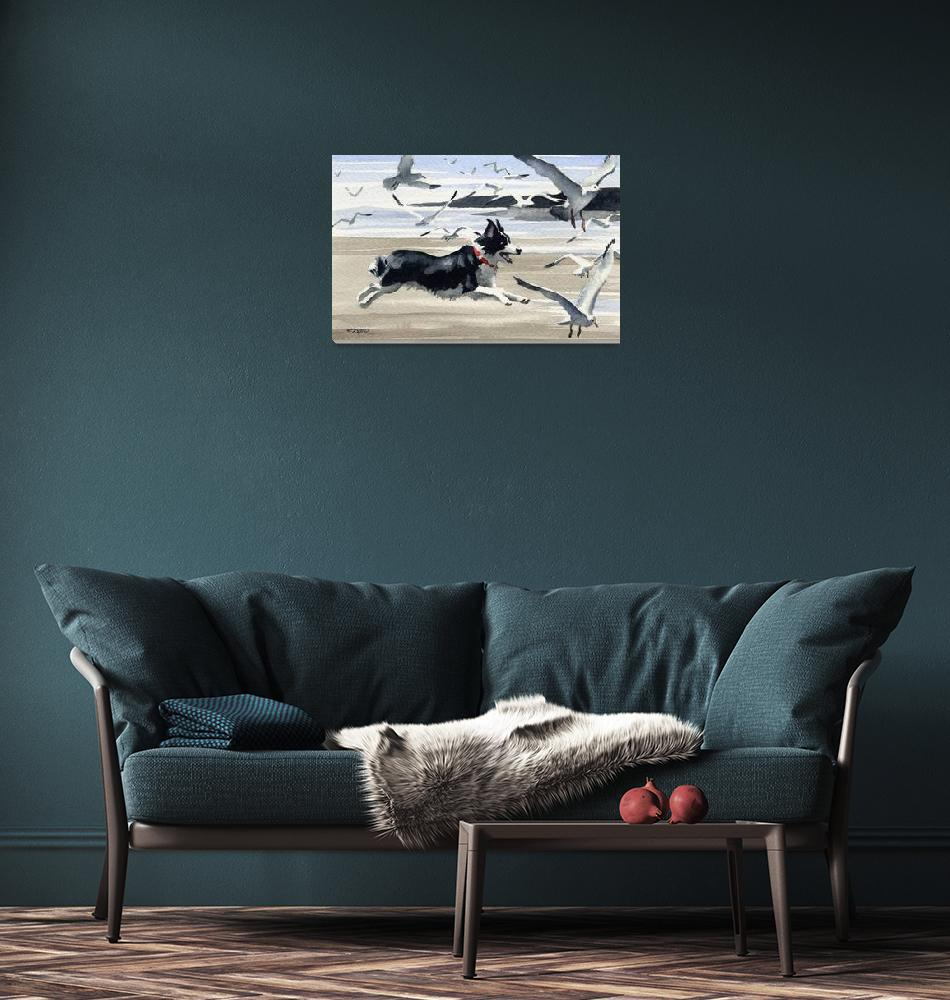 """Border Collie at the Beach""  (2011) by k9artgallery"