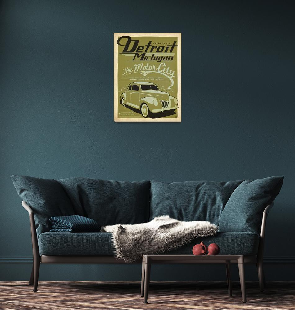 """Detroit, Michigan Retro Travel Poster""  by artlicensing"