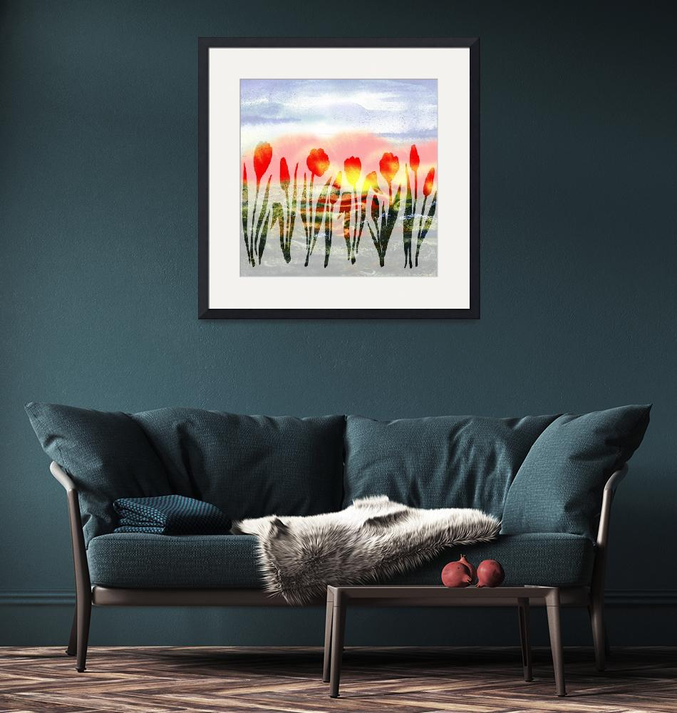 """Red Abstract Tulips Watercolor Silhouette""  (2016) by IrinaSztukowski"