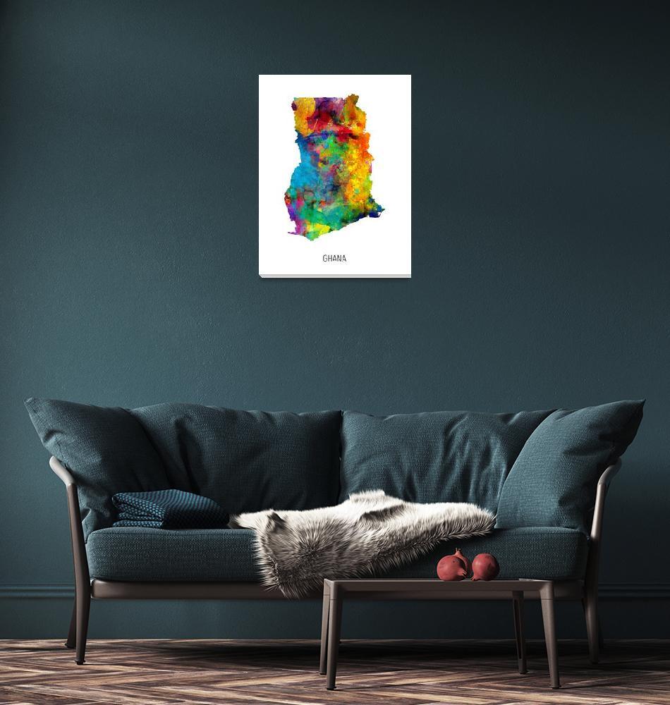 """Ghana Watercolor Map""  (2019) by ModernArtPrints"