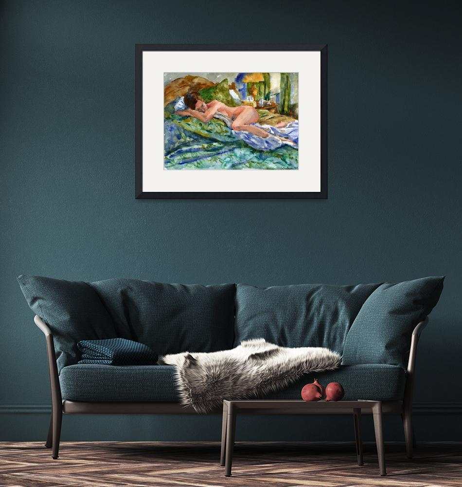 """Lounging, Nude Female Art""  (2008) by schulmanart"