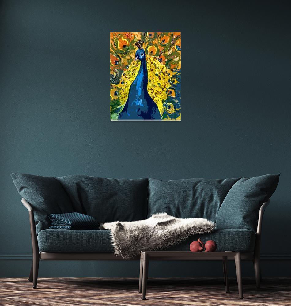 """Peacock Fowl Peafowl Beautiful Bird Art""  (2012) by GinetteCallaway"