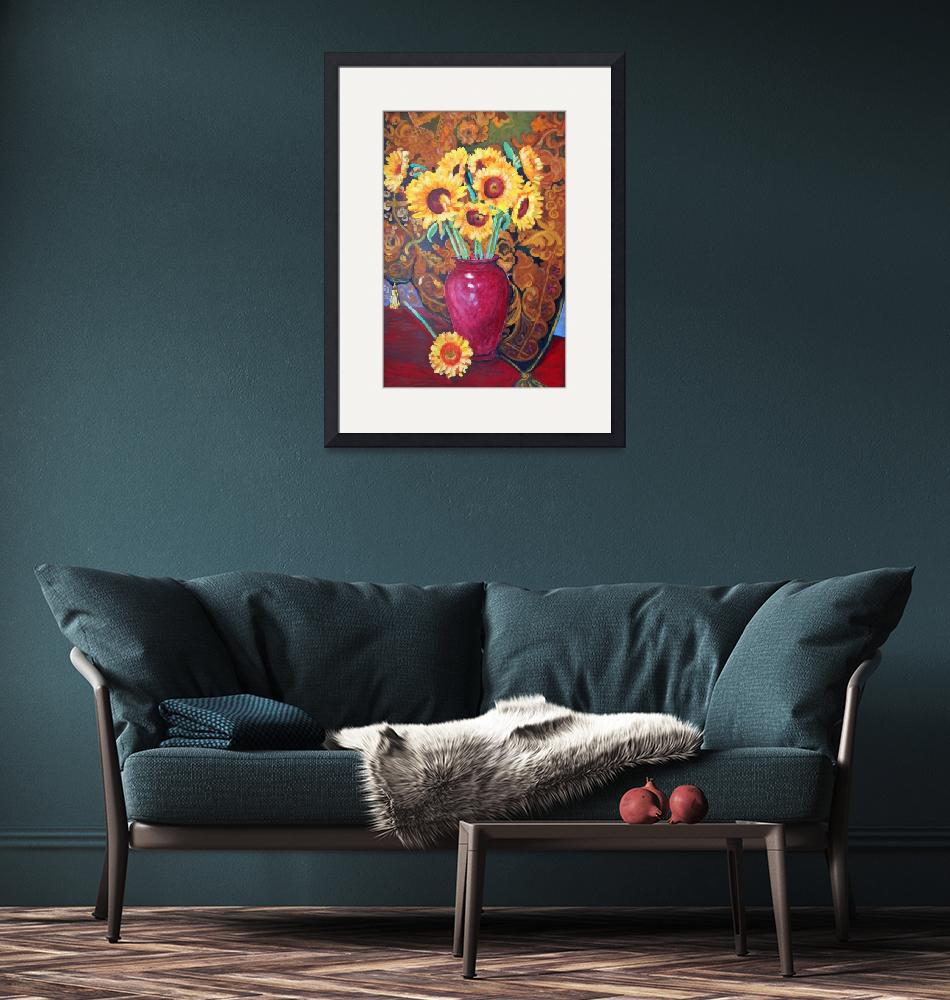 """""""Sunflowers in a Red Vase""""  (2013) by RDRiccoboni"""