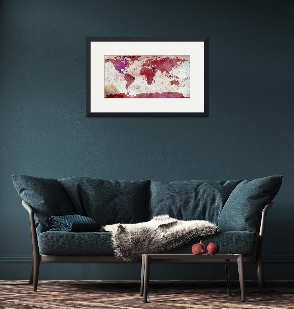 """World Map Watercolor-5""  by WrightFineArt"